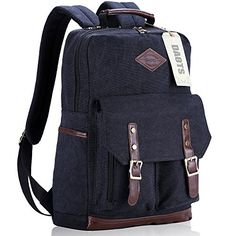 DAOTS Vintage Canvas Laptop Backpack Rucksack for College School Travel  Daypack (1-Year Warranty b98748d7feff0