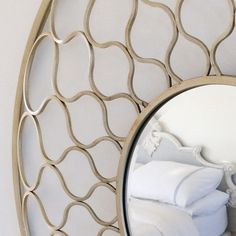 Lattice Links Decorative Round Mirror, Large