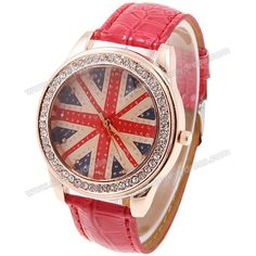 Fashionable Wrist Watch for Women with Rhinestone Decoration Round Quartz Analog Dial Red Leather Band (RED) China Wholesale - Sammydress.com