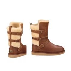 NEW WITHOUT BOX UGG BECKET BOOTS SZ 6 NEW WITHOUT BOX UGG BECKET WATER RESISTANT BOOTS SIZE 6 CHESTNUT COLOR RETAILED $299  A trio of belts lets you customize the fit of this cozy, water-resistant moto boot, trimmed and lined with genuine shearling or plush UGGpure™ to keep feet warm and comfortable. UGGpure is a moisture-wicking textile made entirely from wool but crafted to feel and wear like genuine shearling  Leather and genuine shearling upper/genuine shearling or UGGpure wool…