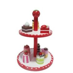 Beautiful Wooden Toy Cake Stand With Eight Delicious Cakes and Posh Pastries (Strawberry Design): Great Gift for Girls: Amazon.co.uk: Toys & Games
