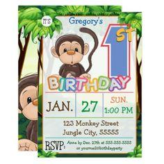 1st Birthday Party Monkey Custom Card - birthday gifts party celebration custom gift ideas diy