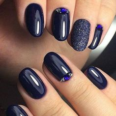 Cobalt Blue Nails With Rhinestones;blue manicure;blue nail designs;Blue Gel;Nail Polish;blue nail art;rhinestone nails; Winter Nails, Spring Nails, Summer Nails, Matte Nails, Acrylic Nails, Dark Gel Nails, Gold Nails, Hair And Nails, My Nails