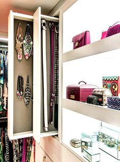 Great idea for storing jewelry in your walk-in closet.