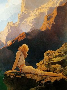 Wild Geese by  Maxfield Parrish.  Allusion to myth of Leda and the Swan?: