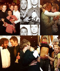the LotR cast shenanigans haha I love how the top right one looks like Viggo and Dom are sharing a really intense, bromantic moment and the one bottom center- wh-what? what are you doing dom?!