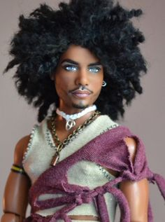 Shaka (Shah-Kah) is a full repaint and restyle.I observed photos of men and gave Shaka (Zulu) a piece of all of them. Jimmy Hendrix was one of the them. Shaka is wearing a handmade wig, shirt, and jewelry. Fashion Royalty Dolls, Fashion Dolls, Pelo Natural, African American Dolls, Beautiful Barbie Dolls, Ken Doll, Black Barbie, Doll Repaint, Barbie Collection