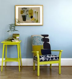 Just lovely. Maxine Sutton Great use of colour, texture and material. Love the block colours, Bohemian Living Rooms, Living Spaces, Upcycled Furniture, Painted Furniture, Furniture Upholstery, Metal Chairs, Apartment Design, Colour Schemes, Chair Cushions