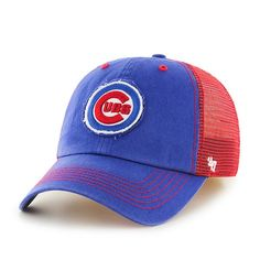 Chicago Cubs 47 Brand Blue Red Closer Mesh Stretch Fit Hat - Great Prices And Fast Shipping at Detroit Game Gear - Chicago Cubs 47 Brand Blue Red Closer Hat Cubs Gear, Cubs Merchandise, Detroit Game, Curves Workout, Royal Red, Fitted Caps, Chicago Cubs, Hats For Men, Closer