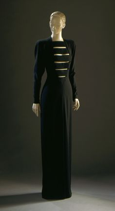 1987, America - Woman's Evening Dress by James Galanos - Black wool and silk crepe