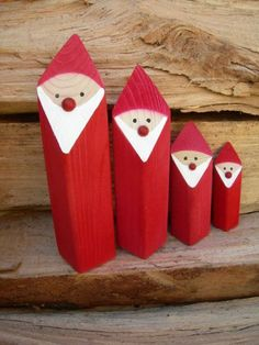 Gruppe Weihnachtsmänner Größe S + M + L + XL Cute Santa Claus to set up as decoration objects for the Christmas decoration. The Santa Clauses are handmade by us from spruce wood and dyed in warm Christmas red. Wooden Christmas Decorations, Christmas Wood Crafts, Wood Ornaments, Christmas Signs, Homemade Christmas, Rustic Christmas, Christmas Art, Christmas Projects, Holiday Crafts