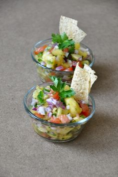Pineapple Salsa  inspired by Chef Jamie    Ingredients  1/2 a pineapple {or 1 can} roughly chopped  1/3 red onion, diced  1 tomato, chopped  1 jalapeno, deseeded and diced  1 large handful parsley, chopped  1 Tablespoon olive oil  1 Tablespoon lemon juice {or sub lime}  salt and pepper    don't forget to add some pineapple juice into the mixture to make it extra tasty!