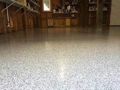Decorative and Durable Epoxy Flake Garage Floor in Dallas, Texas.