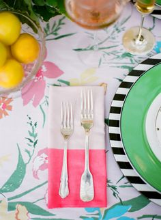 Kate Spade Garden Party. Black and white stripes, green and pink and flowers