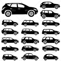 Silhouette cars — Vector EPS #wheel #classic • Available here → https://graphicriver.net/item/silhouette-cars/679415?ref=pxcr