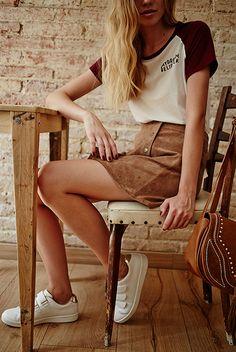 70's - seriously cool - stradivarius, editorial, Camel, 70's, denim, suede skirt
