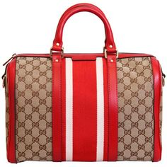 Gucci Red/Beige Guccissima Print Borsa Bag ($1,025) ❤ liked on Polyvore