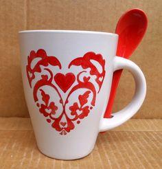 Szőttes szív Kézzel festett kávés bögre #coffee #mugs #love #HandPainted #heart #hungarian #FolkArt