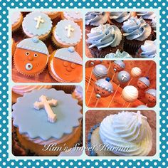 Baby boy baptism cupcakes and cake pops. https://www.facebook.com/Kimssweetkarma
