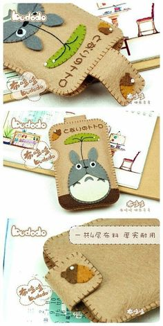 cute kawaii tablet holder or phone case great gift for your teens to make for birthday or christmas DIY CUTE Totoro Felt Case Cute Crafts, Felt Crafts, Fabric Crafts, Sewing Crafts, Diy And Crafts, Sewing Projects, Craft Projects, Felt Phone Cases, Felt Case