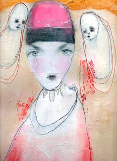 "Original Drawing, Mixed Media Collage with Simple Embroidery, Acrylic Painting by Christina Romeo ""I Will Not Fall"""