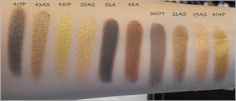 Inglot Bronzes and golds eye shadow swatches