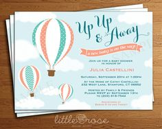 Hot Air Balloon Baby Shower Invitation - Up Up & Away Baby Shower Invite - Unisex - Gender Neutral - Bridal Shower - Printable Digital File