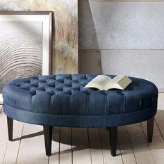 Ellis Oval Tufted Cocktail Ottoman: Denim Blue