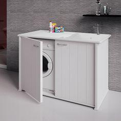 Mobile lavanderia coprilavatrice sx Compatta 109x61 con ante completo di vasca
