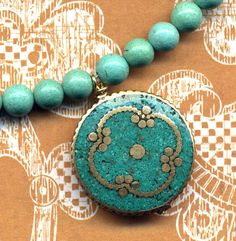 Nepal Necklace - Turquoise inlay Mandala. Nepal Jewelry by AnnaArt72.