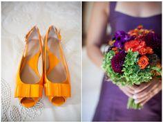 Purple and orange wedding, check the article.