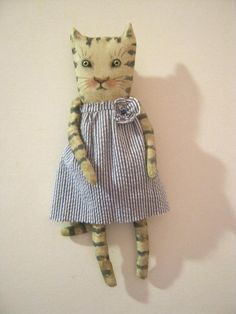 RESERVED for Martha , a cat art doll , in stripe dress , sandy mastroni ,