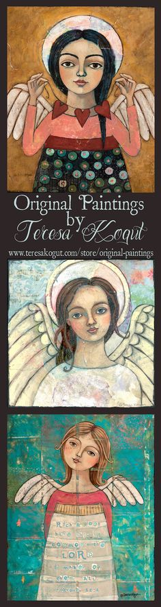 Painting angels is my passion!! These angels bring peace and calmness into your home. Art by Teresa Kogut. #angels #art
