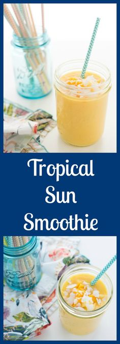 Tropical Sun Smoothie will keep you full until lunch, while all of the tropical flavors will awaken your senses and prepare you for the day ahead. Yogurt Recipes, No Dairy Recipes, Summer Treats, Picky Eaters, Beach Party, Taste Buds, Smoothies, Picnic, Tropical
