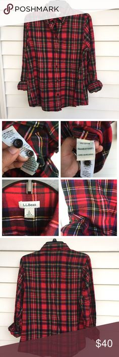 L.l bean plaid button down shirt Never worn• size small regular women's• amazing quality ❌no trades L.L. Bean Tops Button Down Shirts