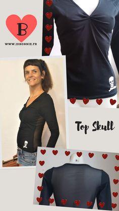 Top femme en jersey noir avec motif tête de mort. Taille unique