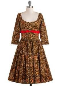 tea length cotton long or 3/4 sleeve fit and flare dress - - Yahoo Image Search Results