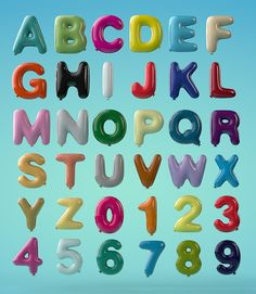 Balloon font was created for a children's campaign to encourage hope and a better future. Unique Pantone colours and the unique alphabet, both play an important part of child's foundation in education. 3d Alphabet, Typography Alphabet, 3d Typography, Hand Lettering, Ricardo Martins, Crafts For Kids, Diy Crafts, Cool Coloring Pages, Letterpress Printing