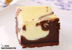Fusión de dos tartas o bizcochos: el brownie de chocolate con nueces y la tarta de queso