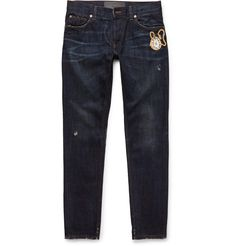 733548_mrp_in_xl.jpg (960×1002) Indigo denim Belt loops, five pockets, embroidered and beaded motif, whiskered, distressed Button fastenings 100% cotton Machine wash Made in Italy