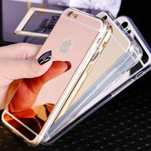 Luxury Rose Gold Plating Mirror Case For Iphone 6S Soft TPU Cover For Iphone 6S 7 Plus 5 5S Ultra Slim Clear Shell Phone Cases(China (Mainland))