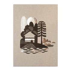 "Share dreamy thoughts with this idyllic island scene by Sanna Annukka. The postcard is extra nice with its silver foil accents. Measures approximately 4 1/8"" x 5 13/16"". Printed with vegetable-based i"