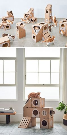 Tawain-based company A Cat Thing has created modular cardboard cat furniture that can be configured in many different ways. #CatRoom #CatHouse