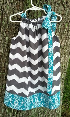 Pillowcase Dress  Grey Chevron and Turquoise by LAFitupCreations, $20.00