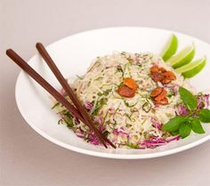 Raw Pad Thai with Kelp Noodles. I'd like to try this some day. It seems that kelp noodles are really good for you.