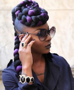 Purple braids are one of the many hairstyle trends that have become popular in recent years. Let's take a look at 35 stylish ways you can rock purple braids. Purple Braids, Black Girl Braids, Girls Braids, Big Braids, Purple Hair, Fishtail Braids, Plaits, Braided Updo, Braid Styles