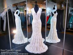 Be elegant and sexy in this ivory lace mermaid dress that will rock the dance floor, and it's at Rsvp Prom and Pageant, your source of the HOTTEST Prom and Pageant Dresses!