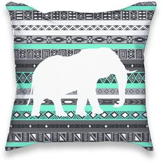 Turquoise Mint Aztec Elephant Print Throw Pillow (29 CAD) ❤ liked on Polyvore…