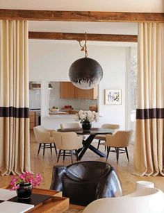 Dining Room with CustomHand Painted Noguchi Pendant Light Sunset Roundabout Dining Breakfast Room Rustic Modern by Trip Haenisch & Associates Best Interior, Luxury Interior, Rooms Ideas, Beautiful Dining Rooms, Curtains With Blinds, Drapery Panels, Hallway Curtains, Luxury Decor, Contemporary Furniture