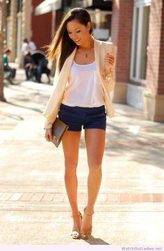 Hapa Time short pants, white top and nude blazer